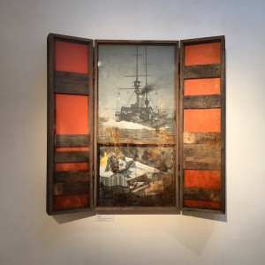 Julian Rowe 'Sycorax 1V' Acrylic on calico, bronze powder, wood, Perspex. Triptych. 120 x 120 x 12 cm