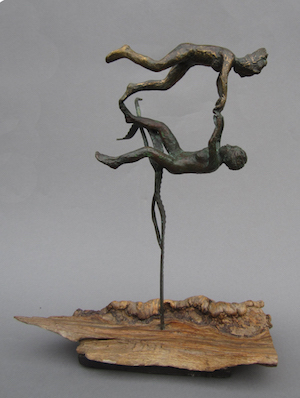 JULIET SIMPSON Living in an Aquarium. 6/10. Bronze on found oak 34 x 30 x 20 cm