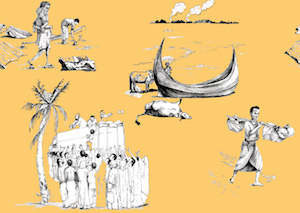 "MELISSA HILL ""Rohingya Toile de Jouy"" Digitally printed wallpaper 60 cm x 360 cm"