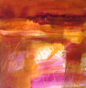 MARGARET DEVITT Abstract Desert iv Acrylic Watercolour and Oil Pastel Framed 54 x 53 cms